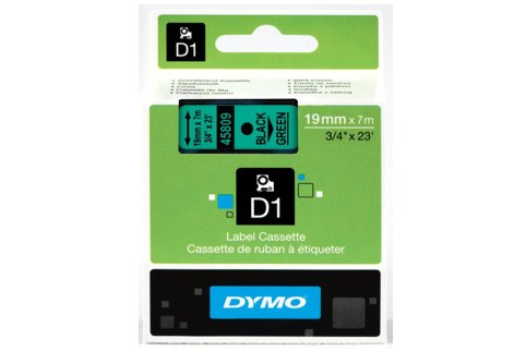 DYMO SD45809 Black on Green 19MM X 7M Tape (Genuine)